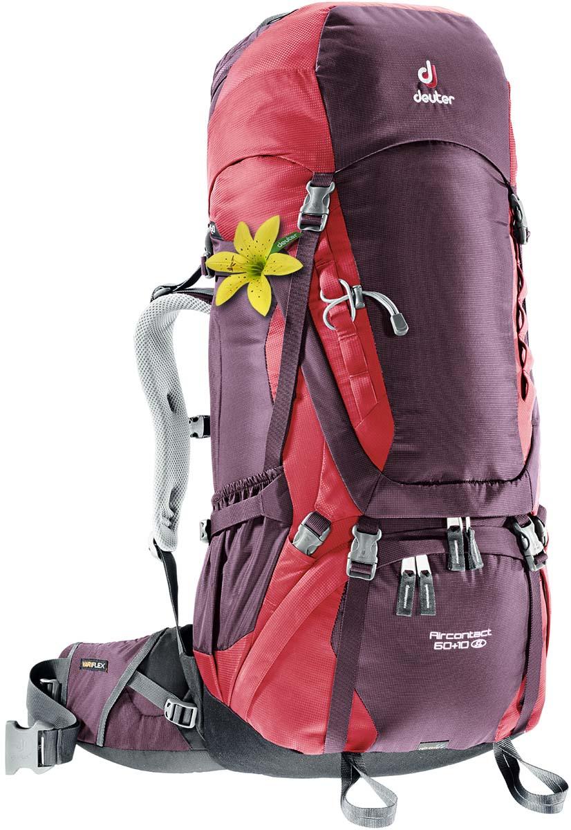 Рюкзак Deuter Aircontact 60+10 SL, цвет: фиолетовый, темно-красный, 70 л3320416_5518Компактный, спортивный рюкзак идеально подходит для людей, предпочитающих пешие прогулки. Анатомическая форма конструкции плечевых лямок и улучшенные крылья набедренного пояса делают рюкзак настолько удобными, что вы забудете, что у вас за спиной рюкзак. Особенности: Большой фронтальный клапан для прямого доступа Подвижный пояс с крыльями Vari Flex и затяжкой Pull-Forward Перфорированные алюминиевые стержни X-образного каркаса передают нагрузку на бедра Боковые компрессионные стропы Карман на молнии на крыле пояса Верхний клапан, регулируемый по высоте Карман в клапане Внутренний карман для мелких вещей Две линии петель daisy chains Кольца крепления на верхней крышке клапана Петли для крепления ледоруба и треккинговых палок Отдельный отсек в нижней части Компрессионные стропы внизу Двухслойное дно Съемный чехол от дождя Карман для карт сбоку Второй вместительный карман сбоку SOS лейбл...