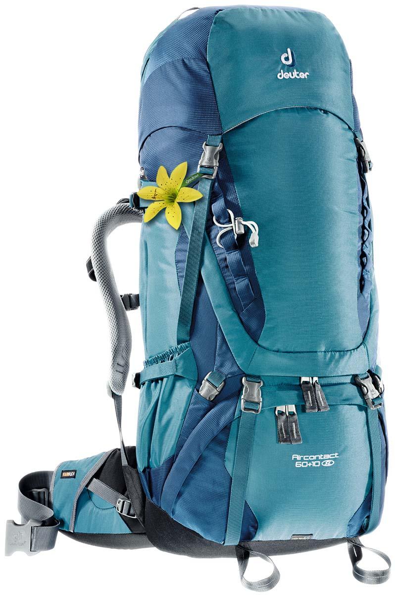 Рюкзак Deuter Aircontact 60+10 SL, цвет: серо-голубой, 70л3320416_3353Прочный и надежный рюкзак. Анатомическая форма конструкции плечевых лямок и улучшенные крылья набедренного пояса. Для женщин серия SL.