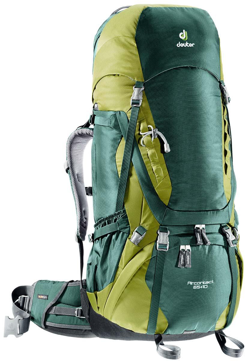 Рюкзак Deuter Aircontact 65+10, цвет: зеленый, темно-зеленый, 75л3320516_2218Прочный и надежный рюкзак. Анатомическая форма конструкции плечевых лямок и улучшенные крылья набедренного пояса. Для женщин серия SL.