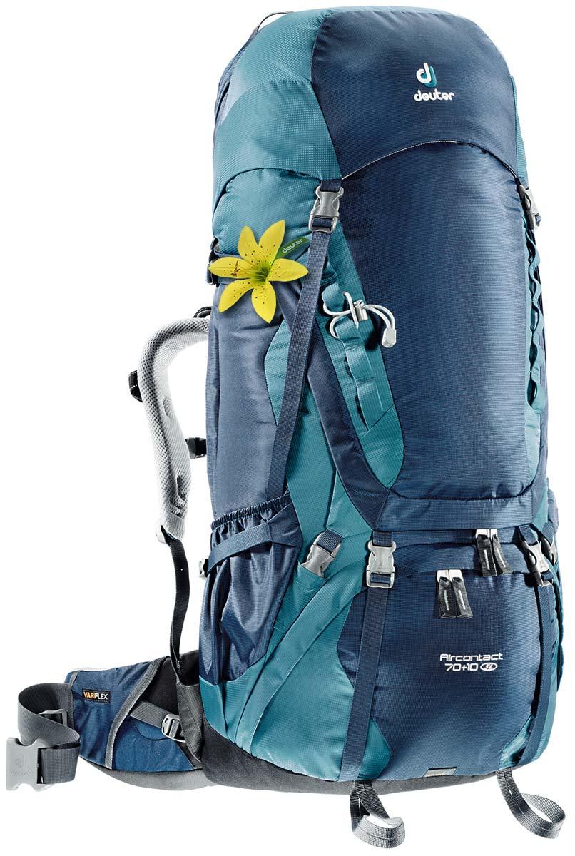 Рюкзак Deuter Aircontact 70+10 SL, цвет: светло-голубой, темно-синий, 80л3320616_3354Прочный и надежный рюкзак. Анатомическая форма конструкции плечевых лямок и улучшенные крылья набедренного пояса. Для женщин серия SL.