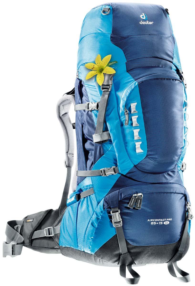 Рюкзак спортивный Deuter Aircontact PRO 65+15 SL, цвет: светло-голубой, бирюзовый, 80 л33833_3306Спортивный рюкзак идеально подходит для людей, предпочитающих пешие прогулки. Подвижные набедренные крылья отслеживают каждое ваше движение, помогая преодолевать самые сложные участки, не теряя равновесия. Эти крылья равномерно распределяют нагрузку на бедра, тем самым, экономя ваши силы и обеспечивая свободу движения. Особенности Deuter Aircontact PRO 60+15: Новая система Vari Flex с полной регулировкой Набедренный пояс с пряжкой Pull-forward Быстрый доступ к содержимому через переднюю молнию в форме полумесяца Внутренний компрессионный ремень Компрессионные ремни наверху рюкзака и на верхнем клапане для стабильности и большей свободы движения головы Карман на молнии для небольших ценных вещей на набедренном поясе Ярлык SOS Компрессионные ремни на три стороны Боковые складчатые карманы для размещения добавочного багажа или питьевой системы Streamer Внешние карманы для колышек от палатки Большие боковые карманы в...