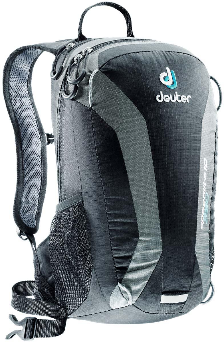 Рюкзак Deuter Speed lite 10, цвет: черный, темно-серый, 10л33101_7410Сверхлегкие спортивные рюкзаки для быстроногих атлетов. Вы почти не почувствуете их вес во время гонок по горам, соревнований по ски,туру, велосипедных марафонов, катаясь на равнинных лыжах, и даже просто догоняя уходящий автобус, эргономичные плечевые лямки целиком выполнены из объемной дышащей сетки 3D Air,Mesh для экономии веса, Оригинальная V,образная форма обеспечивает максимальную свободу движений и размещает нагрузку именно там, где она должна быть, между плеч , Молнии с удобными петлями для пальцев на замках, передний карман, усиленное дно, отражатель 3М, боковые сетчатые карманы позволяют легко достать калорийное питание или флягу с питьем, Вес: 380 г, Объем 15 л. Размеры: 43x23x16 см.