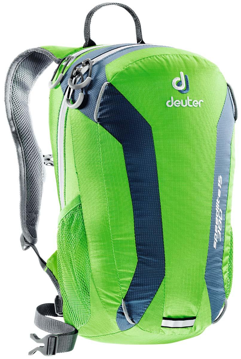 Рюкзак Deuter Speed lite 15, цвет: светло-зеленый, светло-голубой, 15л33111_2304Сверхлегкие спортивные рюкзаки для быстроногих атлетов. Вы почти не почувствуете их вес во время гонок по горам, соревнований по ски,туру, велосипедных марафонов, катаясь на равнинных лыжах, и даже просто догоняя уходящий автобус, эргономичные плечевые лямки целиком выполнены из объемной дышащей сетки 3D Air,Mesh для экономии веса, Оригинальная V,образная форма обеспечивает максимальную свободу движений и размещает нагрузку именно там, где она должна быть, между плеч , Молнии с удобными петлями для пальцев на замках, передний карман, усиленное дно, отражатель 3М, боковые сетчатые карманы позволяют легко достать калорийное питание или флягу с питьем, Вес: 380 г, Объем 15 л. Размеры: 43x23x16 см.
