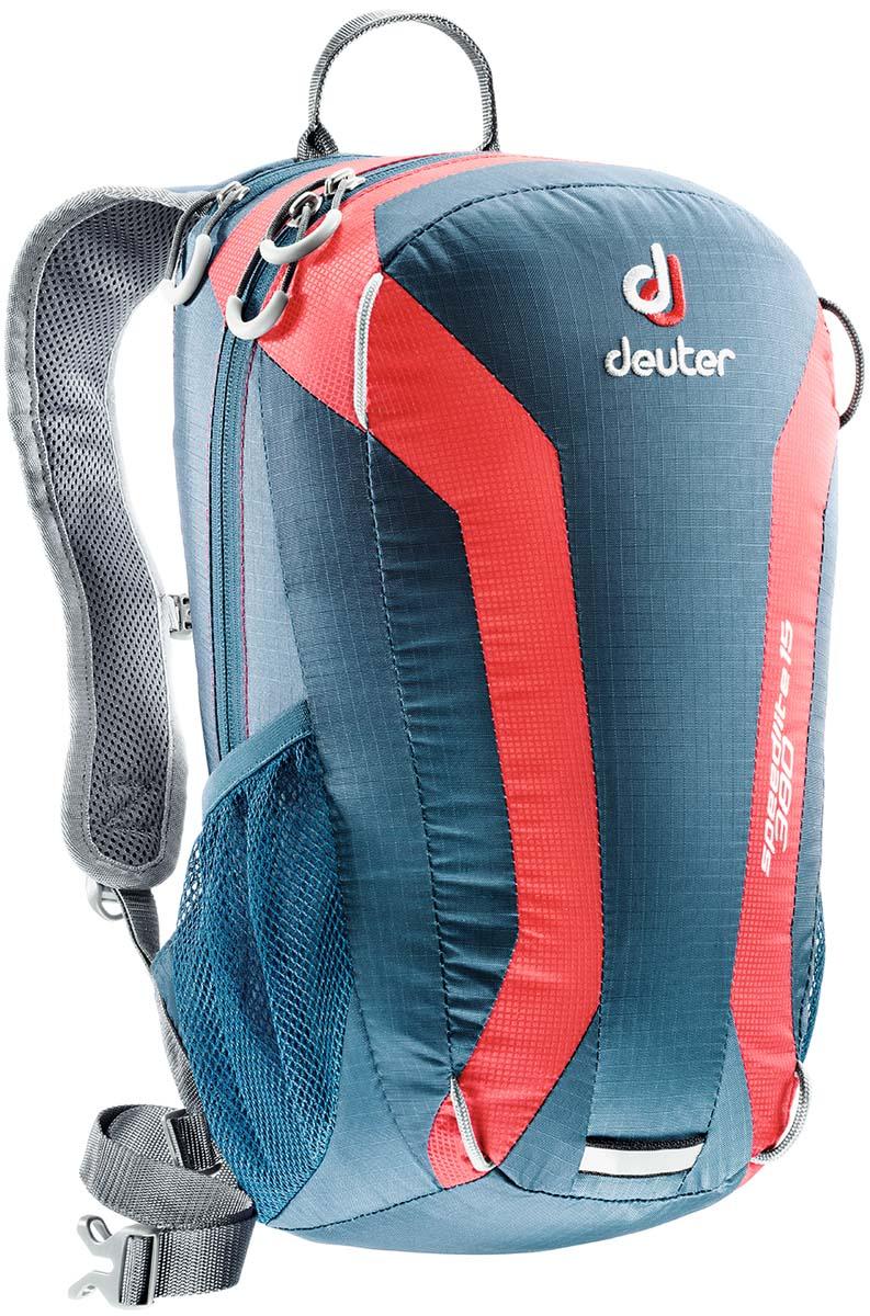 Рюкзак Deuter Speed lite 15, цвет: голубой, серый, красный, 15л33111_3514Сверхлегкие спортивные рюкзаки для быстроногих атлетов. Вы почти не почувствуете их вес во время гонок по горам, соревнований по ски,туру, велосипедных марафонов, катаясь на равнинных лыжах, и даже просто догоняя уходящий автобус, эргономичные плечевые лямки целиком выполнены из объемной дышащей сетки 3D Air,Mesh для экономии веса, Оригинальная V,образная форма обеспечивает максимальную свободу движений и размещает нагрузку именно там, где она должна быть, между плеч , Молнии с удобными петлями для пальцев на замках, передний карман, усиленное дно, отражатель 3М, боковые сетчатые карманы позволяют легко достать калорийное питание или флягу с питьем, Вес: 380 г, Объем 15 л. Размеры: 43x23x16 см.