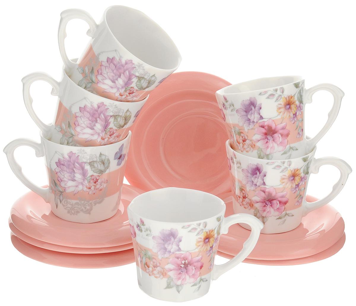 Набор кофейный Loraine, 12 предметов. 2472124721Кофейный набор Loraine состоит из 6 чашек и 6 блюдец. Изделия, выполненные из высококачественной керамики, имеют яркий дизайн и оригинальную круглую форму. Такой набор прекрасно подойдет как для повседневного использования, так и для праздников. Набор Loraine - это не только яркий и полезный подарок для родных и близких, но и великолепное дизайнерское решение для вашей кухни или столовой. Диаметр чашки (по верхнему краю): 6,5 см. Высота чашки: 6 см. Диаметр блюдца: 11,5 см. Высота блюдца: 1,2 см. Объем чашки: 100 мл.