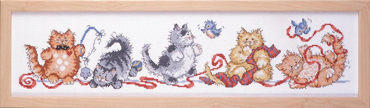Набор для вышивания крестом Design Works Игривые кошки, 16 х 59 см2315Дизайнер Урсула Майкл (Frisky Felines, Ursula Michael).Канва Аида 14 (100% хлопок), нитки мулине (100% хлопок), игла, подробная инструкция со схемой вышивки на русском языке