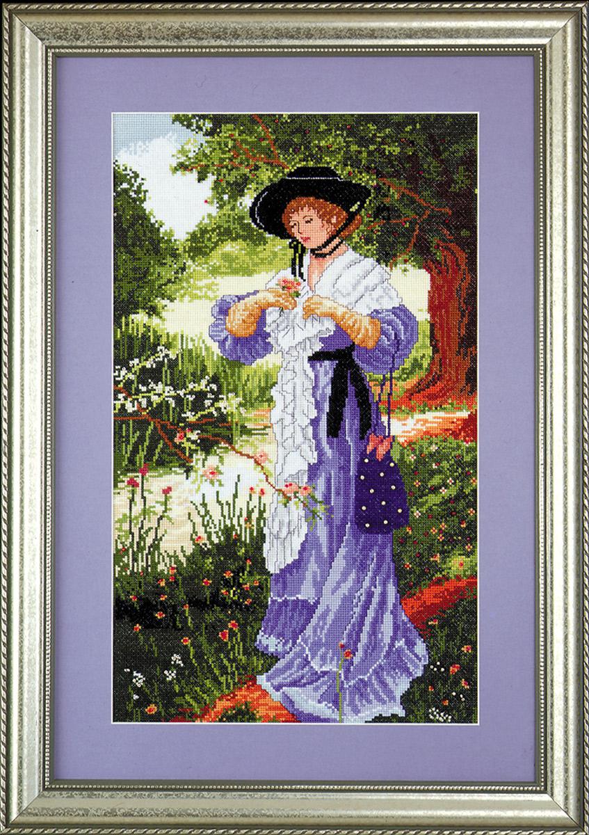 Набор для вышивания крестом Design Works В саду, 28 х 48 см2333По картине Вильяма Купера (Lady in the Garden, William Cooper ).