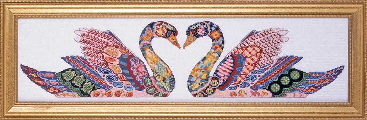 Набор для вышивания крестом Design Works Два лебедя, 20 х 77 см2336Канва Аида 14 (100% хлопок), нитки мулине (100% хлопок), игла, подробная инструкция со схемой вышивки на русском языке