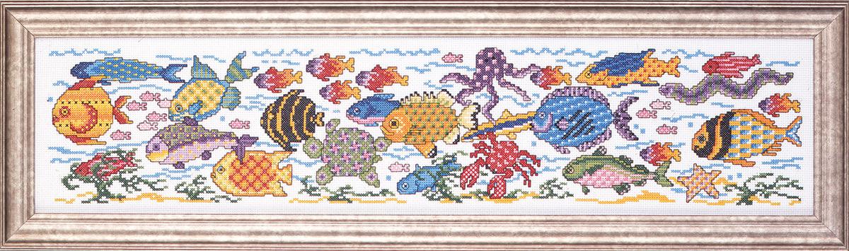Набор для вышивания крестом Design Works Тропический аквариум, 64 х 15 см2357Дизайнер Джоан Эллиотт (Tropical Aquarium, Joan Elliott).