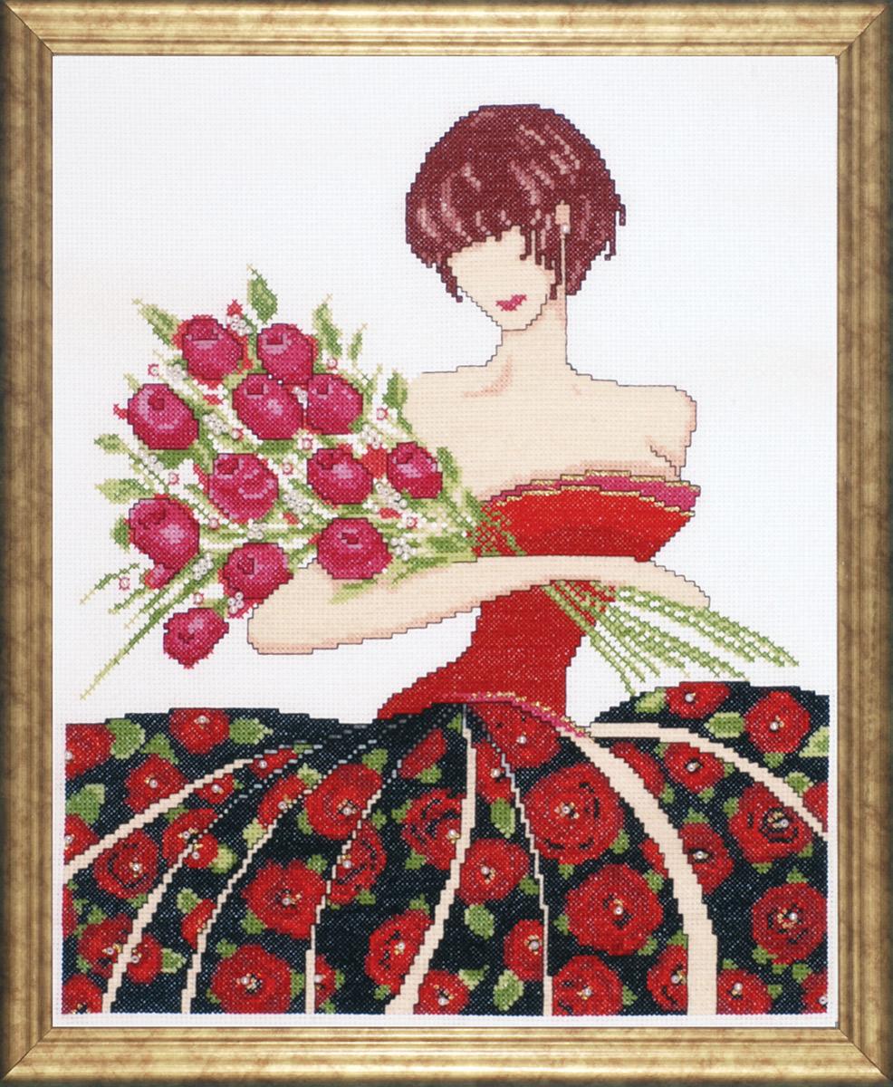 Набор для вышивания крестом Design Works Роза, 32,5 х 40 см2434Канва Аида 14 (100% хлопок), нитки мулине (100% хлопок), игла, подробная инструкция со схемой вышивки на русском языке