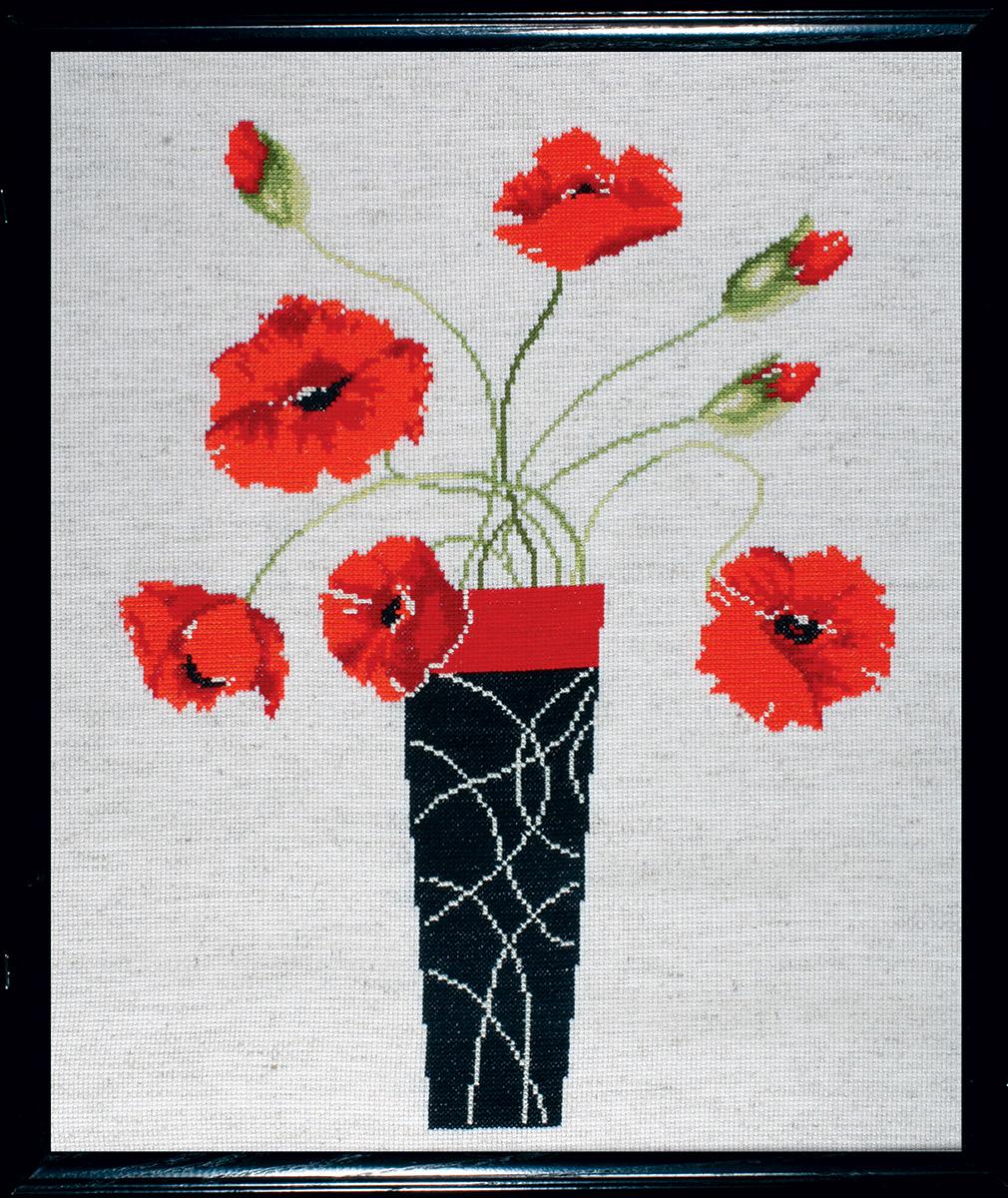Набор для вышивания крестом Design Works Маки в вазе, 32,5 х 40 см2436Дизайнер Мэрилин Робертсон (Poppies in Vase, Marilyn Robertson).