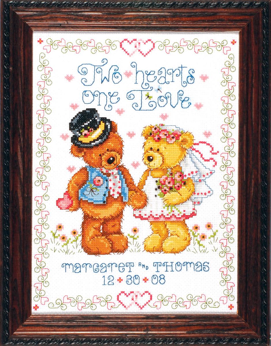 Набор для вышивания крестом Design Works Два сердца, 35 х 45 см2535Канва Аида 14 (100% хлопок), нитки мулине (100% хлопок), игла, подробная инструкция со схемой вышивки на русском языке