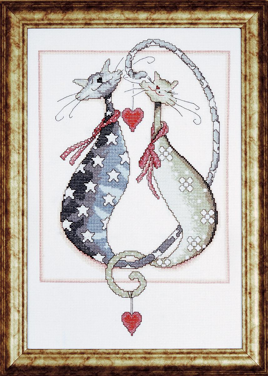 Набор для вышивания крестом Design Works Кошачья свадьба, 22,5 х 35 см2537Канва Аида 14 (100% хлопок), нитки мулине (100% хлопок), игла, подробная инструкция со схемой вышивки на русском языке