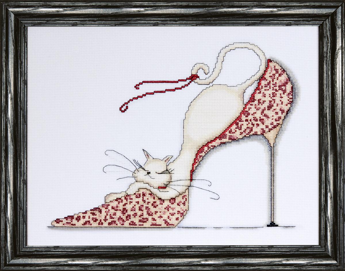 Набор для вышивания крестом Design Works Кошка на леопардовой туфельке, 25 х 33 см2553Канва Аида 14 (100% хлопок), нитки мулине (100% хлопок), игла, подробная инструкция со схемой вышивки на русском языке