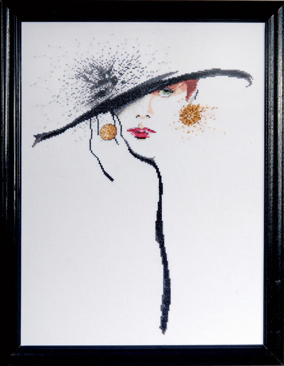 Набор для вышивания крестом Design Works Элегантность в черной шляпе, 32,5 х 42,5 см2554Канва Аида 14 (100% хлопок), нитки мулине (100% хлопок), бисер, игла, подробная инструкция со схемой вышивки на русском языке