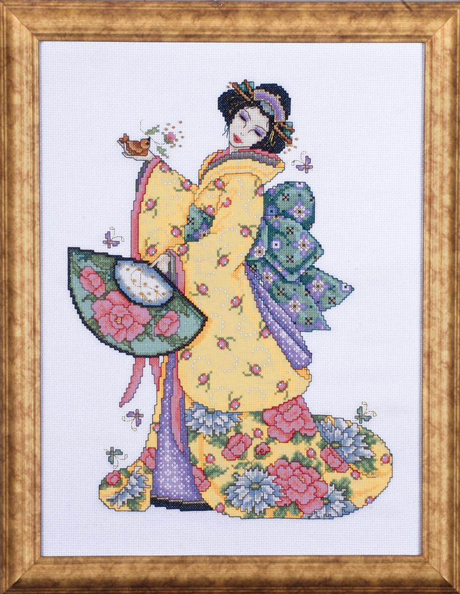 Набор для вышивания крестом Design Works Гейша в золотом, 30 х 40 см2710Дизайнер Джоан Эллиотт (Golden Geisha, Joan Elliott).