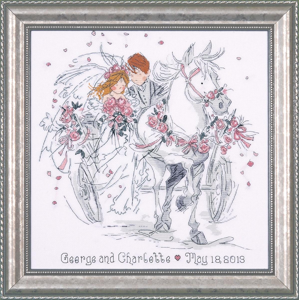 Набор для вышивания крестом Design Works Свадебный экипаж, 30 х 30 см2715Канва Аида 14 (100% хлопок), нитки мулине (100% хлопок), игла, подробная инструкция со схемой вышивки на русском языке