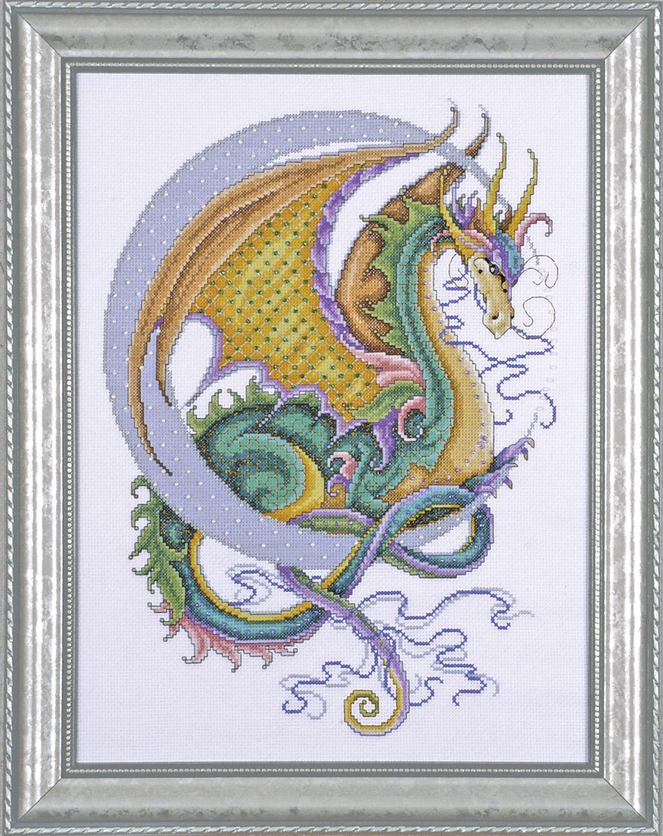 Набор для вышивания крестом Design Works Поднебесный дракон, 30 х 40 см2717Канва Аида 14 (100% хлопок), нитки мулине (100% хлопок), игла, подробная инструкция со схемой вышивки на русском языке