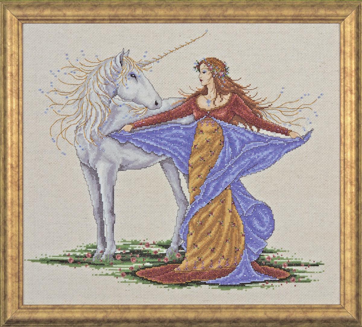 Набор для вышивания крестом Design Works Единорог, 35 х 40 см2726По картине Джоан Эллиотт (Unicorn, Joan Elliott). В набор входят бусины.