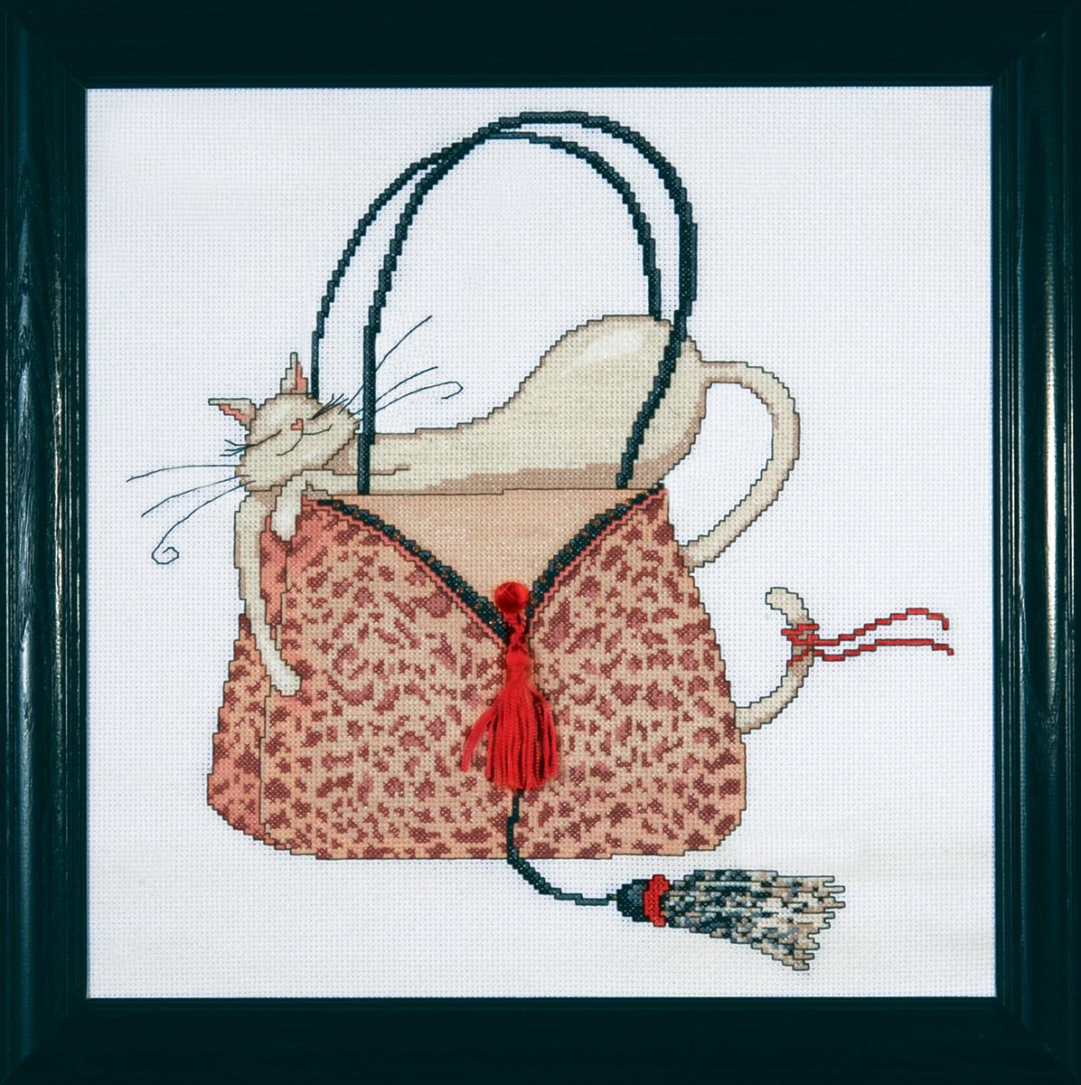 Набор для вышивания крестом Design Works Кошка на леопардовой сумочке, 30 х 30 см2728Дизайнер Мерилин Робертсон ( Leopard Purse , Marilyn Robertson). В набор входят стразы и кисточка.
