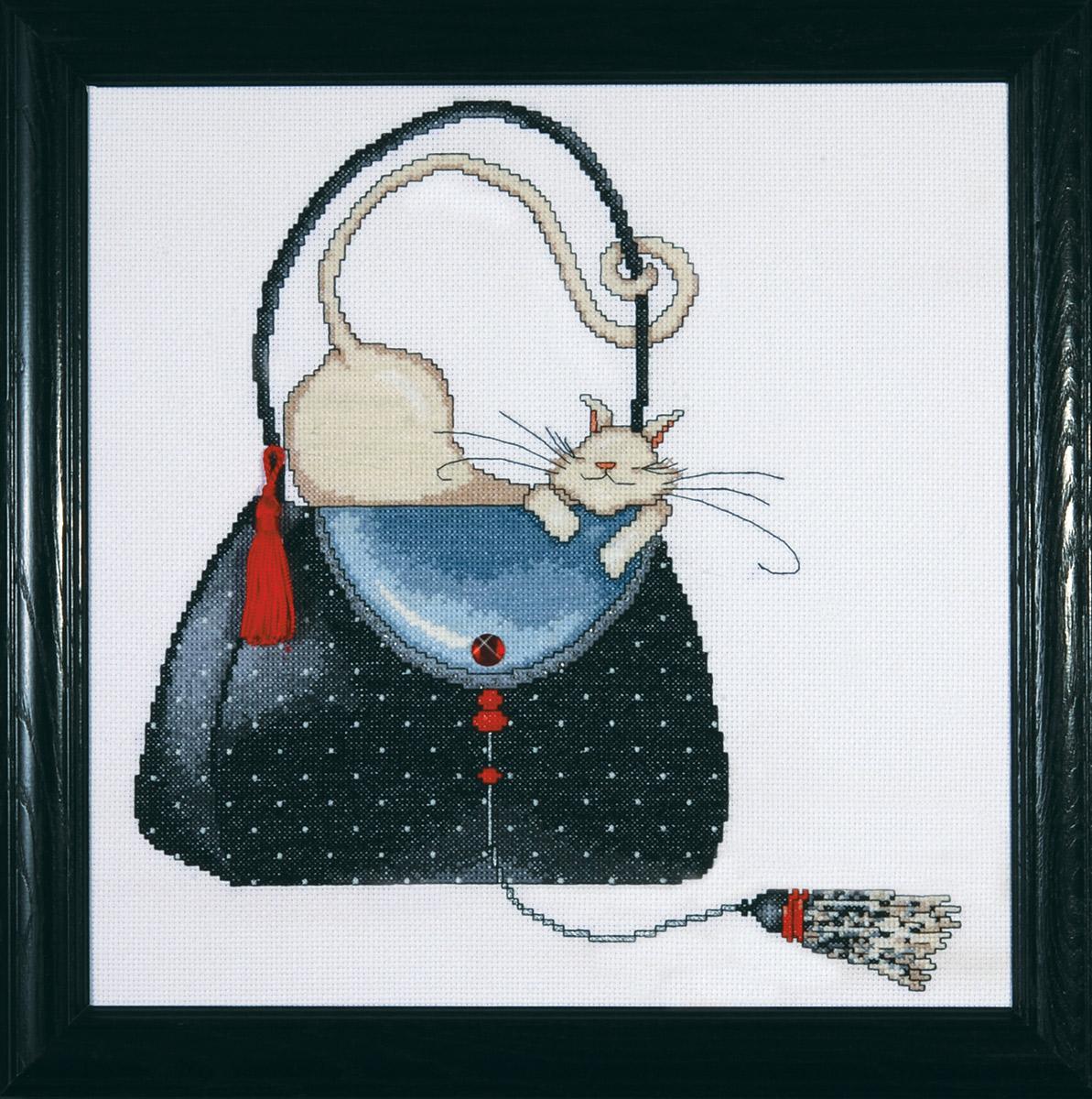 Набор для вышивания крестом Design Works Кошка на сумочке в горошек, 30 х 30 см2729Дизайнер Мерилин Робертсон ( Leopard Purse , Marilyn Robertson). В набор входят стразы и кисточка.