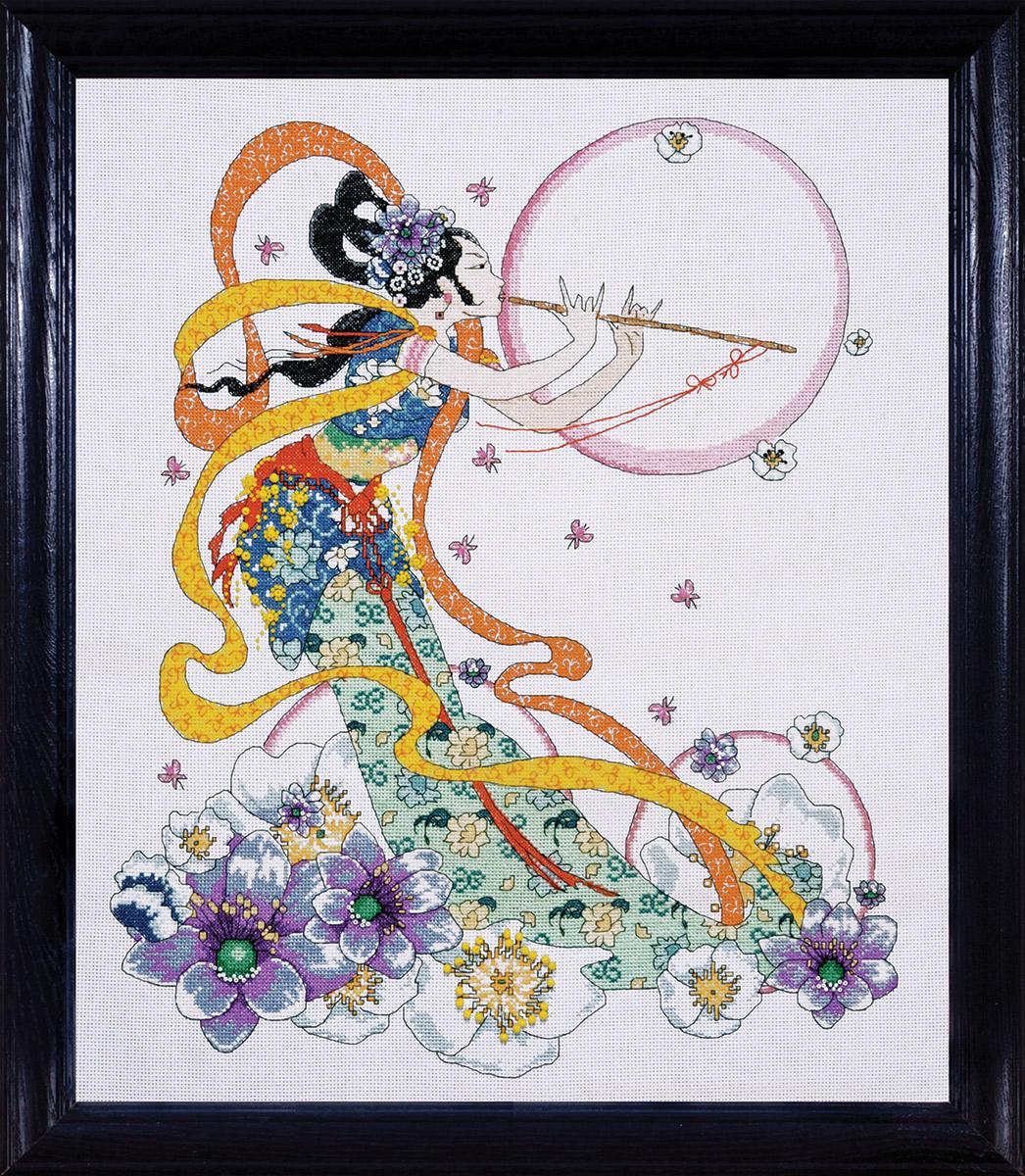 Набор для вышивания крестом Design Works Флейтистка, 40 х 51 см2748По картине Джоан Эллиотт (Flute Player, Joan Elliott). В набор входят бусины.