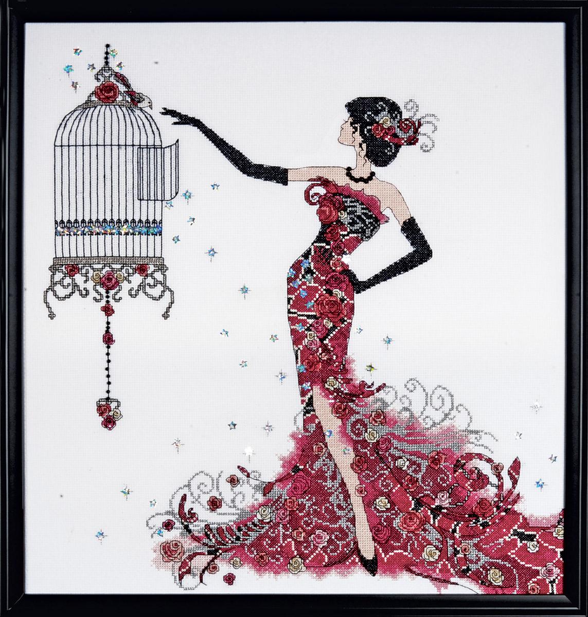 Набор для вышивания крестом Design Works Птичья клетка, 40 х 43 см2754Дизайнер Клэр Коксон (Bird Cage, Claire Coxon).