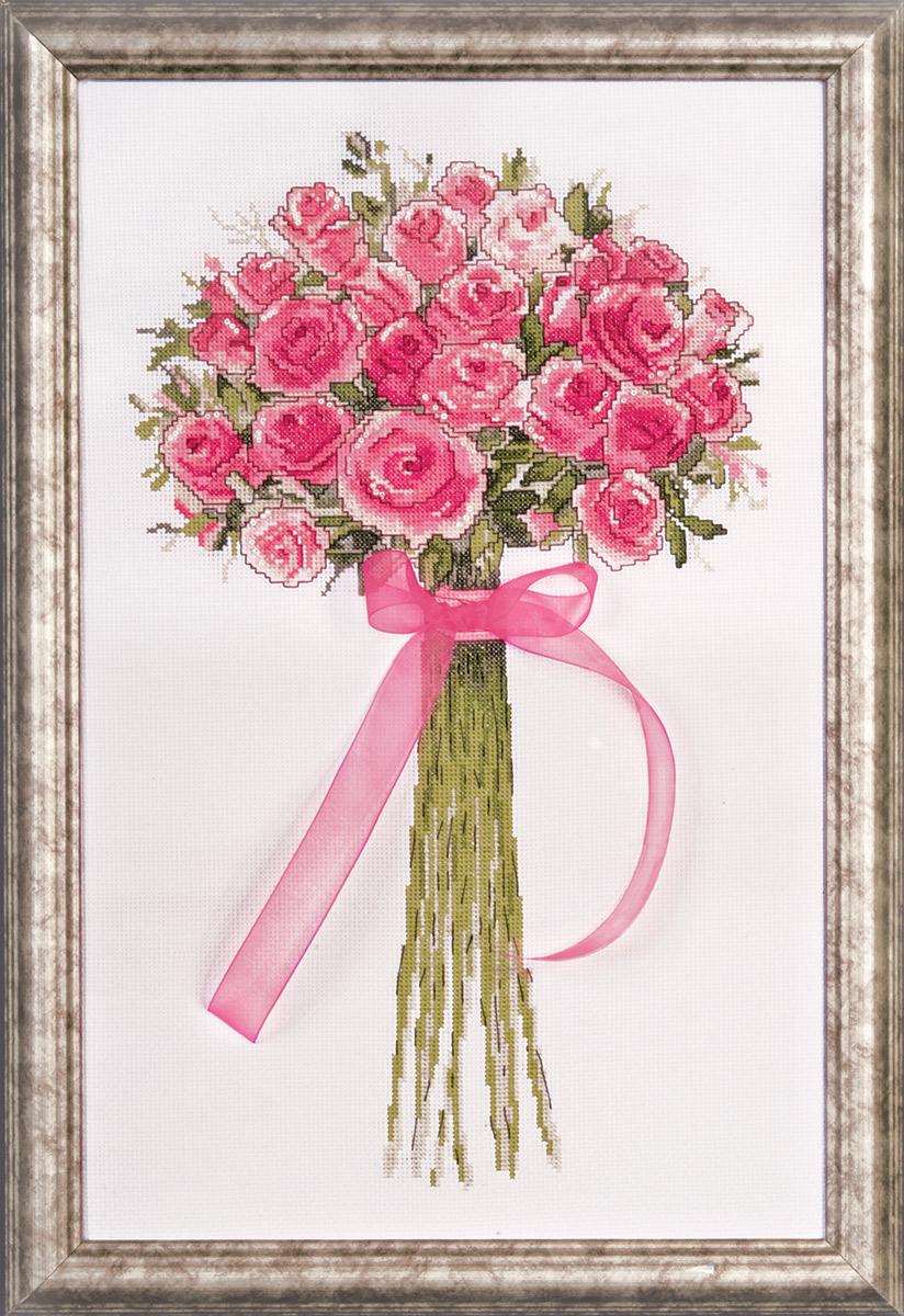 Набор для вышивания крестом Design Works Букет роз с бантом, 25,5 х 43 см2763Канва Аида 14 (100% хлопок), нитки мулине (100% хлопок), игла, подробная инструкция со схемой вышивки на русском языке