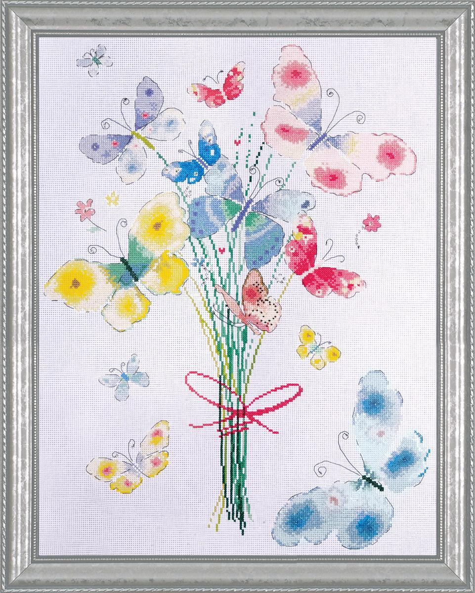 Набор для вышивания крестом Design Works Букет бабочек, 35 х 45 см2764Дизайнер Никола Грегори (Butterfly Bunch, Nicola Gregory).