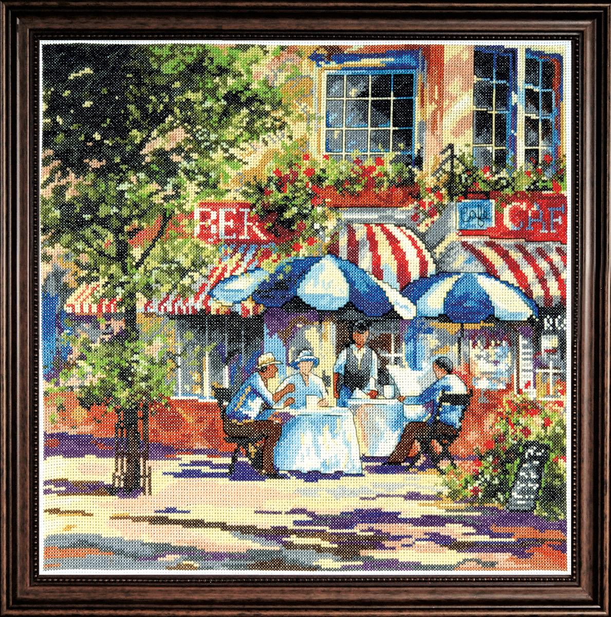 Набор для вышивания крестом Design Works Солнечное кафе, 35,5 х 35,5 см2766По картине Джима Митчела (Cafe in the Sun, Jim Mitchell).