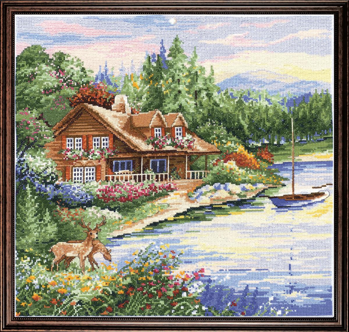 Набор для вышивания крестом Design Works Дом на берегу озера, 38 х 38 см2767По картине Джима Митчелла Коттедж Олений Залив (Deer Creek Cabin, Jim Mitchell)