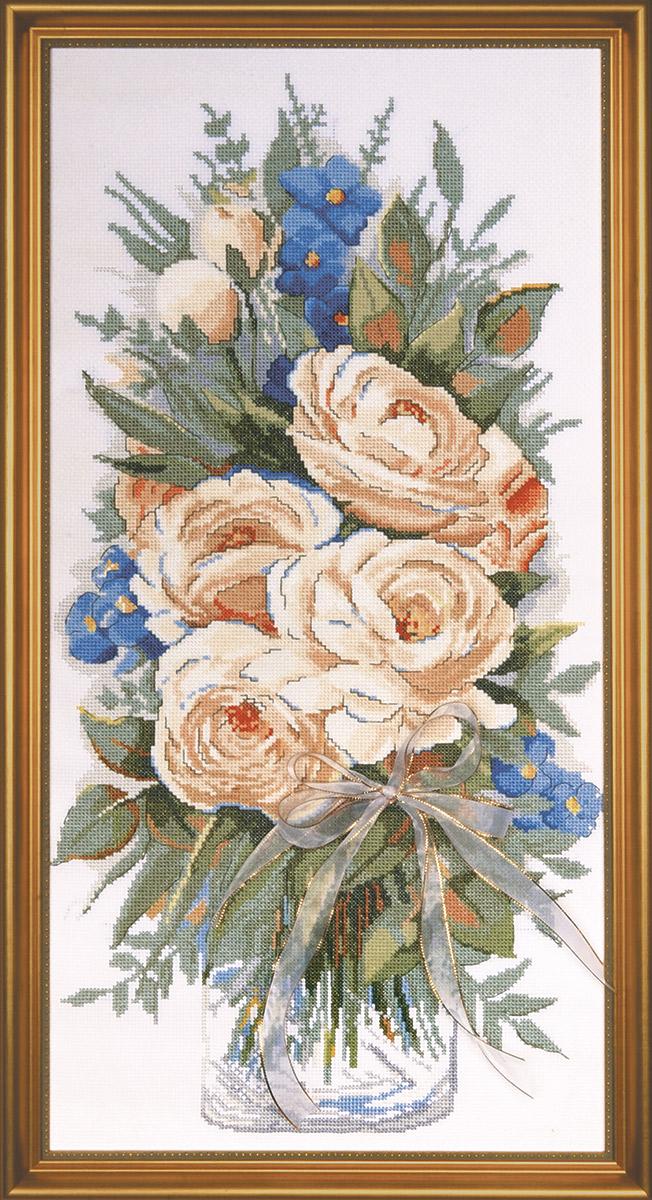 Набор для вышивания крестом Design Works Белые розы, 28 х 56 см2775Дизайнер Питер МакГоуэн (White Roses, Peter McGowan).