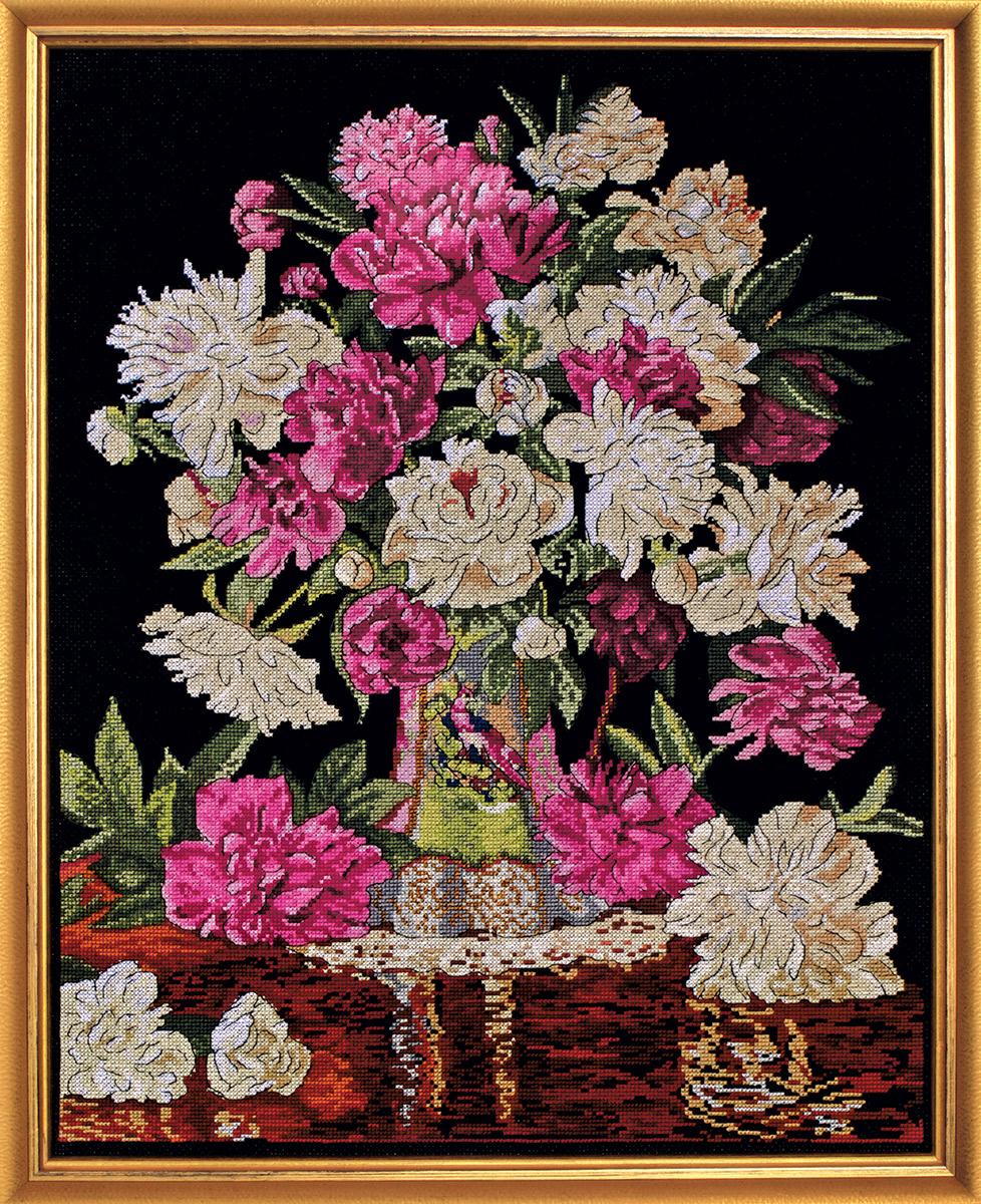 Набор для вышивания крестом Design Works Пионы в вазе, 40x51 см2800По картине Кристофера Пирса (Peonies vase, Christopher Pierce).