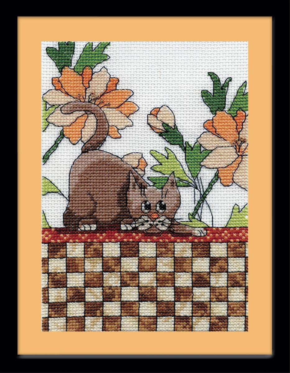 Набор для вышивания крестом Design Works Кот на клетчатом покрывале, 13 х 18 см2804Дизайнер Крис Клейнот (Brown Checkered Cat, Kris Klejnot). В набор входят бусины, металлизированное мулине.