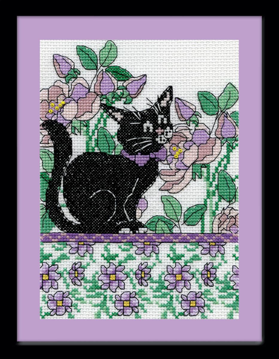 Набор для вышивания крестом Design Works Черный кот среди сиреневых цветов, 13 х 18 см2805Дизайнер Крис Клейнот (Lilac Floral Cat , Kris Klejnot). В набор входят бусины, металлизированное мулине.