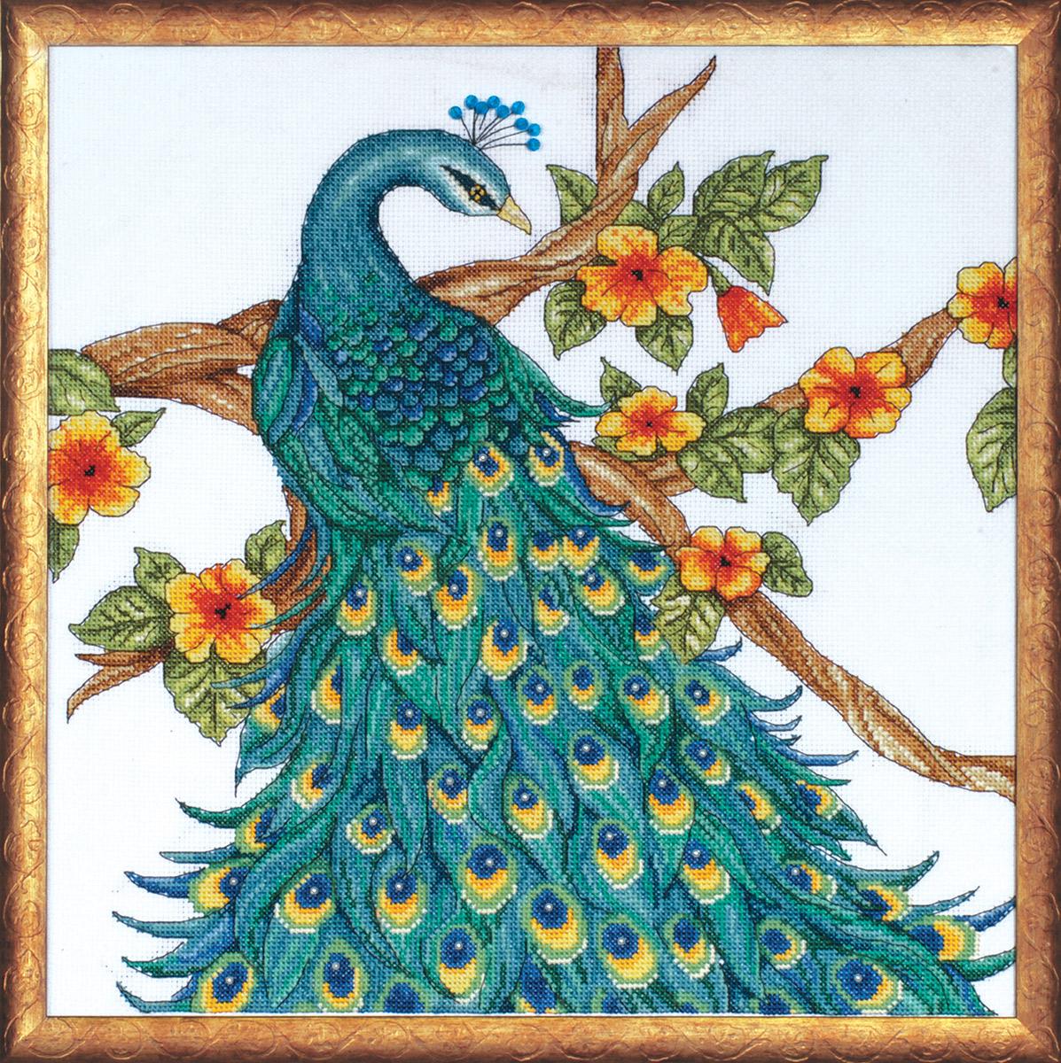 Набор для вышивания крестом Design Works Павлин, 35 х 35 см2808По картине Кристы МакКенна (Peacock, Krista McKenna).