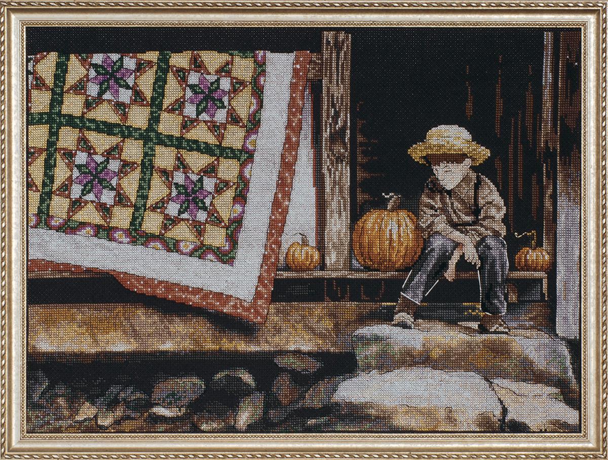 Набор для вышивания крестом Design Works Тыквы на крыльце, 30x40 см2816По картине Хайде Пресса Крыльцо Оливера (Olivers Porch, Heide E. Presse).