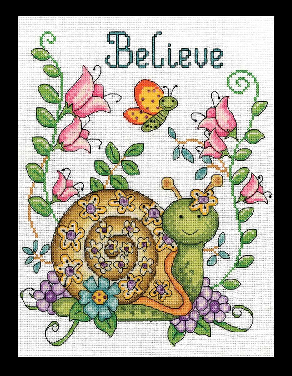 Набор для вышивания крестом Design Works Поверь. Улитка, 20 х 25 см2837По рисунку Дебры Джордан Брайан (Believe (Snail), Debra Jordan Bryan).
