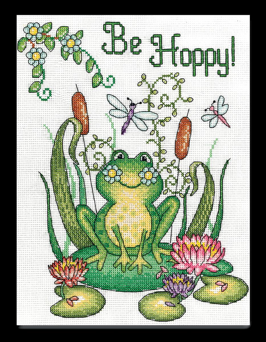 Набор для вышивания крестом Design Works Скачи-пляши. Лягушка, 20 х 25 см2839По рисунку Дебры Джордан Брайан (Be Hoppy (Frog), Debra Jordan Bryan).