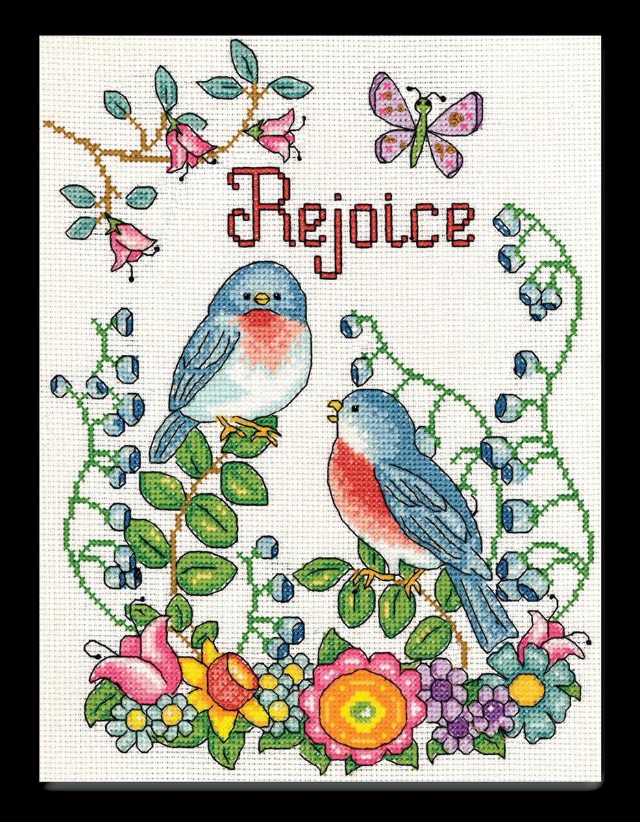Набор для вышивания крестом Design Works Радуйся. Птицы, 20 х 25 см2840По рисунку Дебры Джордан Брайан (Rejoice (Birds), Debra Jordan Bryan).
