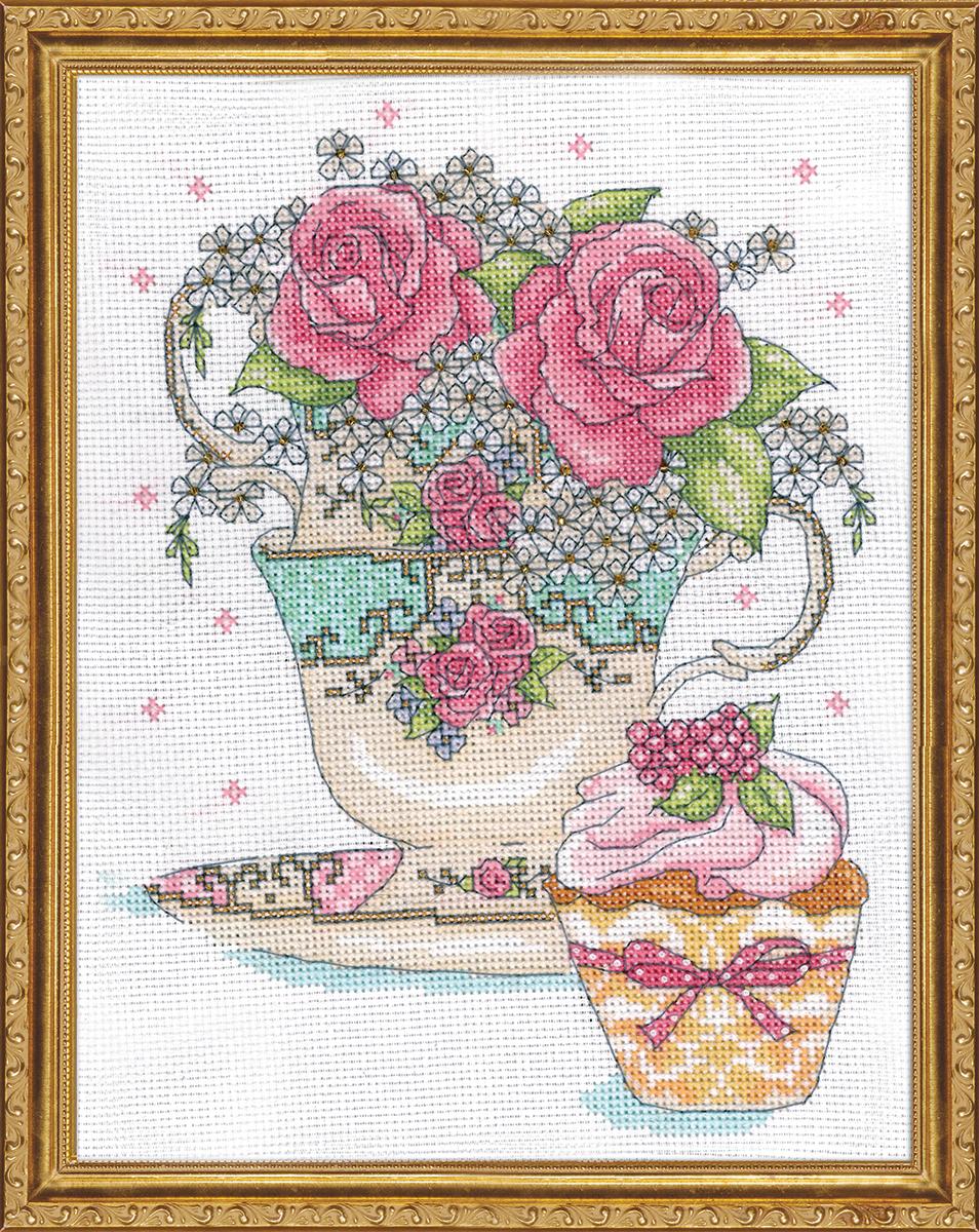 Набор для вышивания крестом Design Works Розы в чайной чашке, 20 х 25 см2851Канва Аида 14 (100% хлопок), нитки мулине (100% хлопок), игла, подробная инструкция со схемой вышивки на русском языке