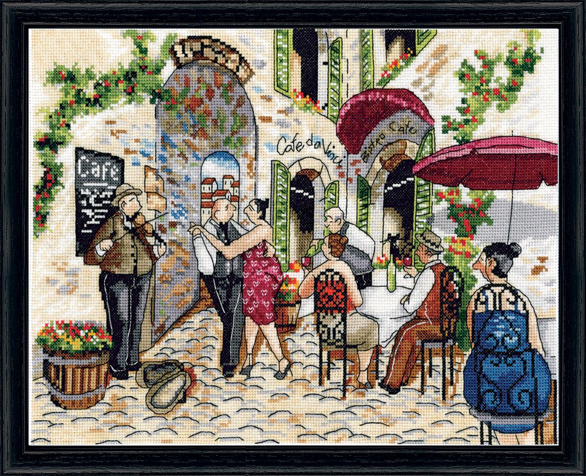 Набор для вышивания крестом Design Works Танцы в кафе, 25 х 36 см2854Канва Аида 14 (100% хлопок), нитки мулине (100% хлопок), игла, подробная инструкция со схемой вышивки на русском языке