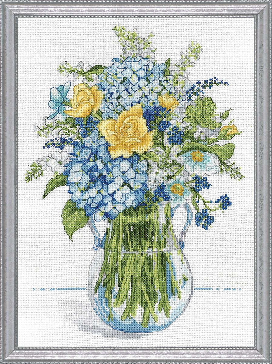 Набор для вышивания крестом Design Works Желто-голубой букет, 25 х 36 см2866Канва Аида 14 (100% хлопок), нитки мулине (100% хлопок), игла, подробная инструкция со схемой вышивки на русском языке