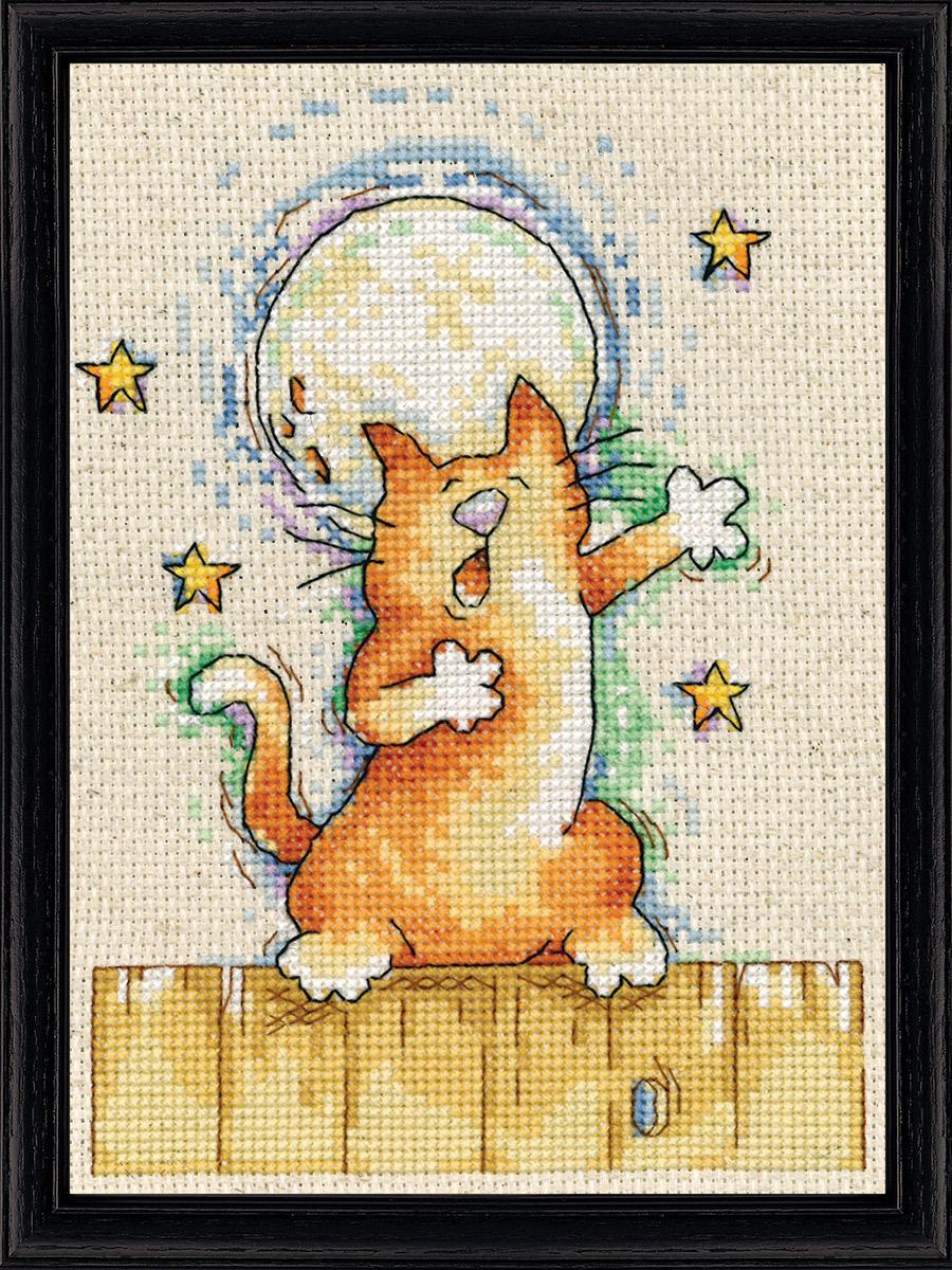 Набор для вышивания крестом Design Works Поющий кот, 13 х 18 см2871Канва Аида 14 (100% хлопок), нитки мулине (100% хлопок), игла, подробная инструкция со схемой вышивки на русском языке