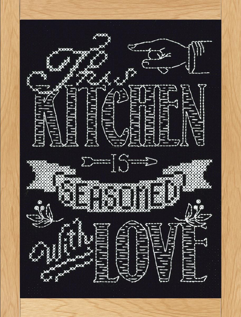 Набор для вышивания крестом Design Works Меловая надпись. Любимая кухня, 20 х 25 см2885Канва Аида 14 (100% хлопок), нитки мулине (100% хлопок), игла, подробная инструкция со схемой вышивки на русском языке