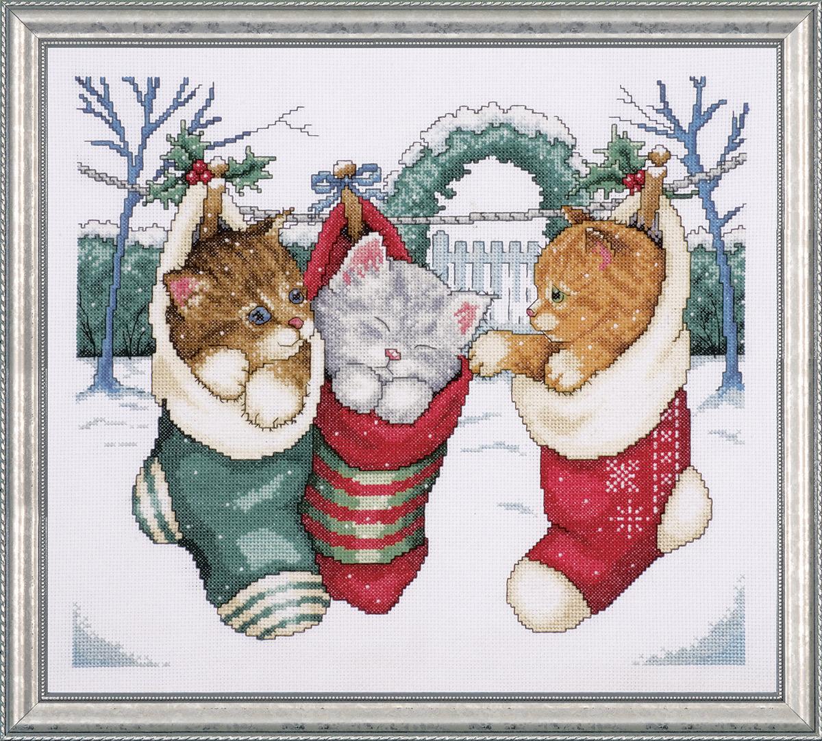 Набор для вышивания крестом Design Works Уютные котята, 31 х 36 см5979Канва Аида 14 (100% хлопок), нитки мулине (100% хлопок), игла, подробная инструкция со схемой вышивки на русском языке