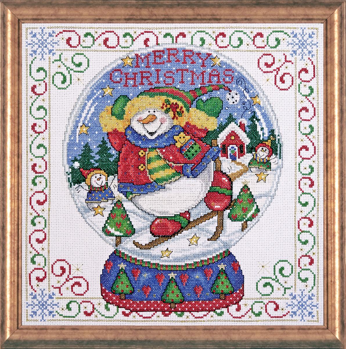Набор для вышивания крестом Design Works Снежный шар, 30 х 30 см5982Канва Аида 14 (100% хлопок), нитки мулине (100% хлопок), игла, подробная инструкция со схемой вышивки на русском языке