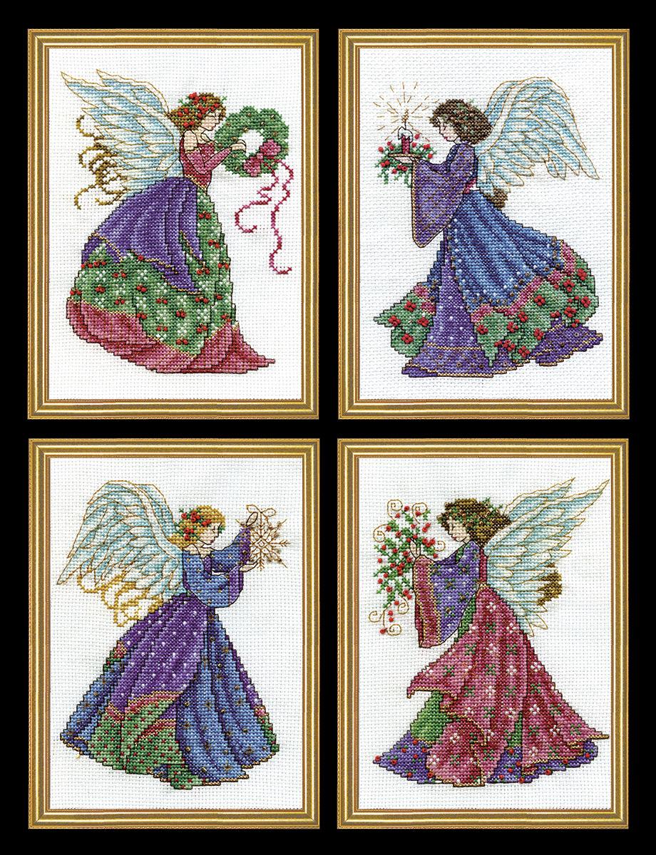 Набор для вышивания крестом Design Works 4 Рождественских ангела, 13 х 10 см, 4 шт5985Канва Аида 14 (100% хлопок), нитки мулине (100% хлопок), игла, подробная инструкция со схемой вышивки на русском языке