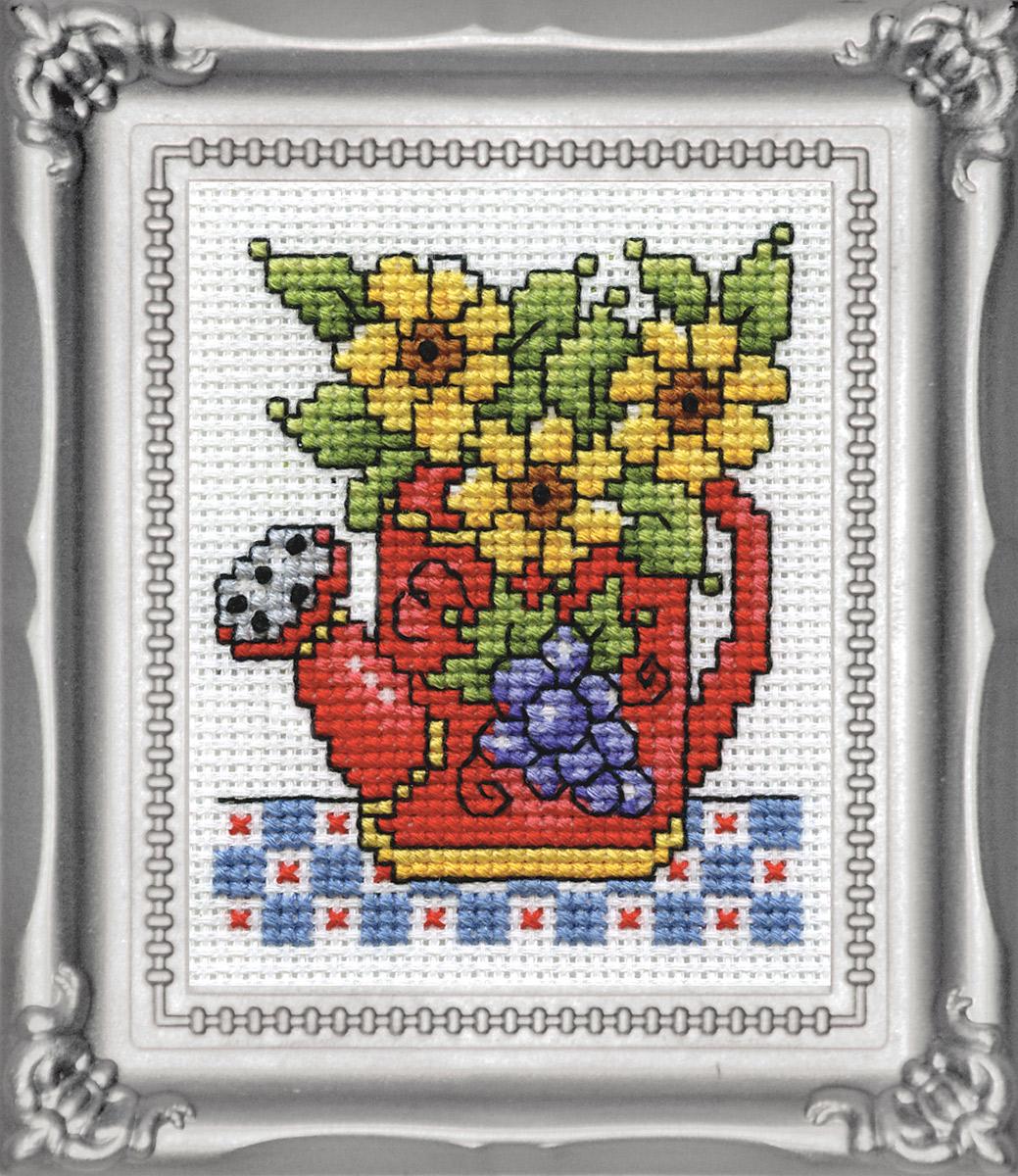 Набор для вышивания крестом Design Works Лейка, 5 х 8 см603Канва Аида 14 (100% хлопок), нитки мулине (100% хлопок), игла, подробная инструкция со схемой вышивки на русском языке, рамка