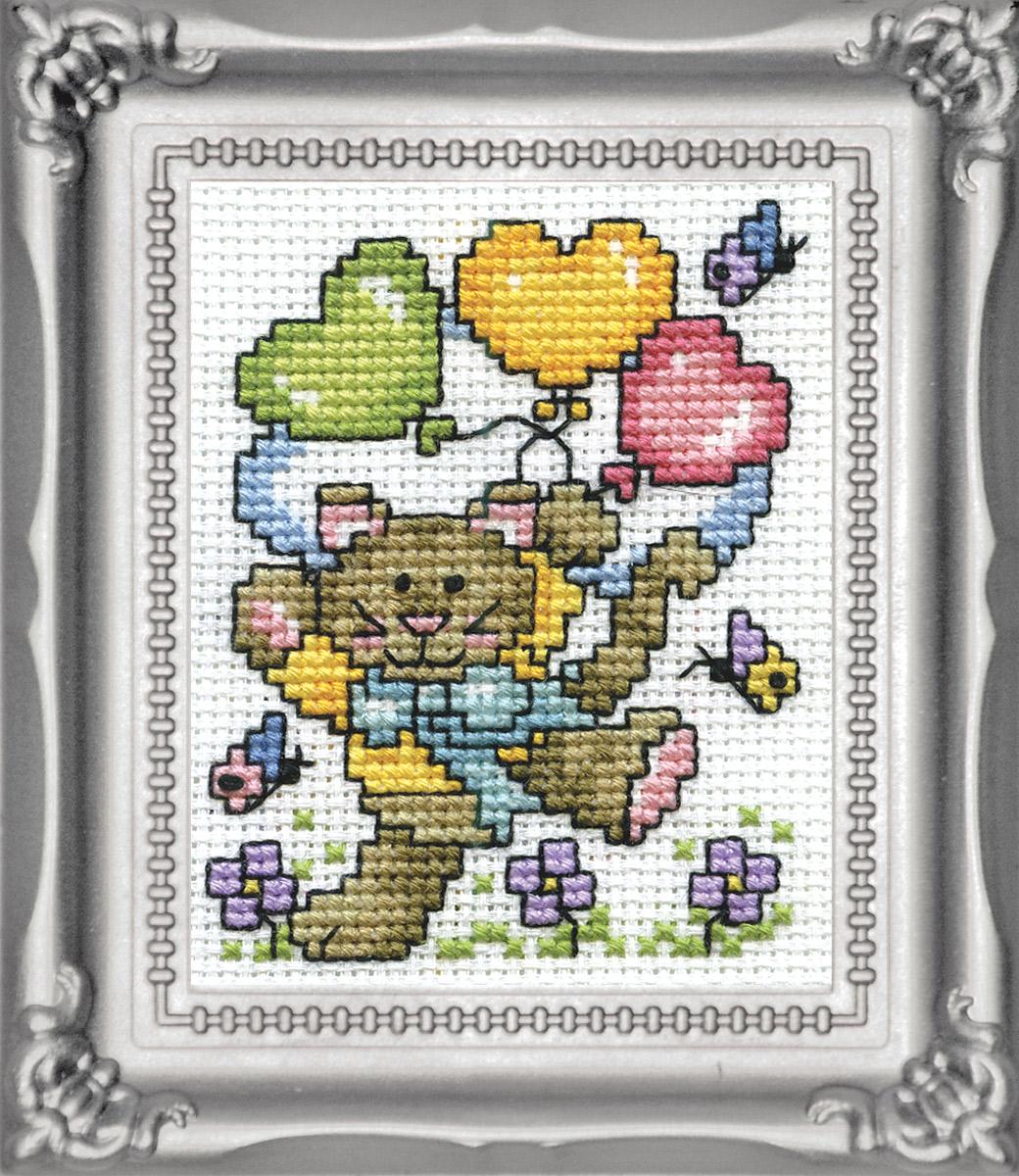 Набор для вышивания крестом Design Works Кот с воздушными шарами, 5 х 8 см604Канва Аида 14 (100% хлопок), нитки мулине (100% хлопок), игла, подробная инструкция со схемой вышивки на русском языке, рамка